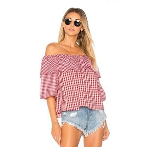 Lovers + Friends Red Gingham Off-The-Shoulder Top